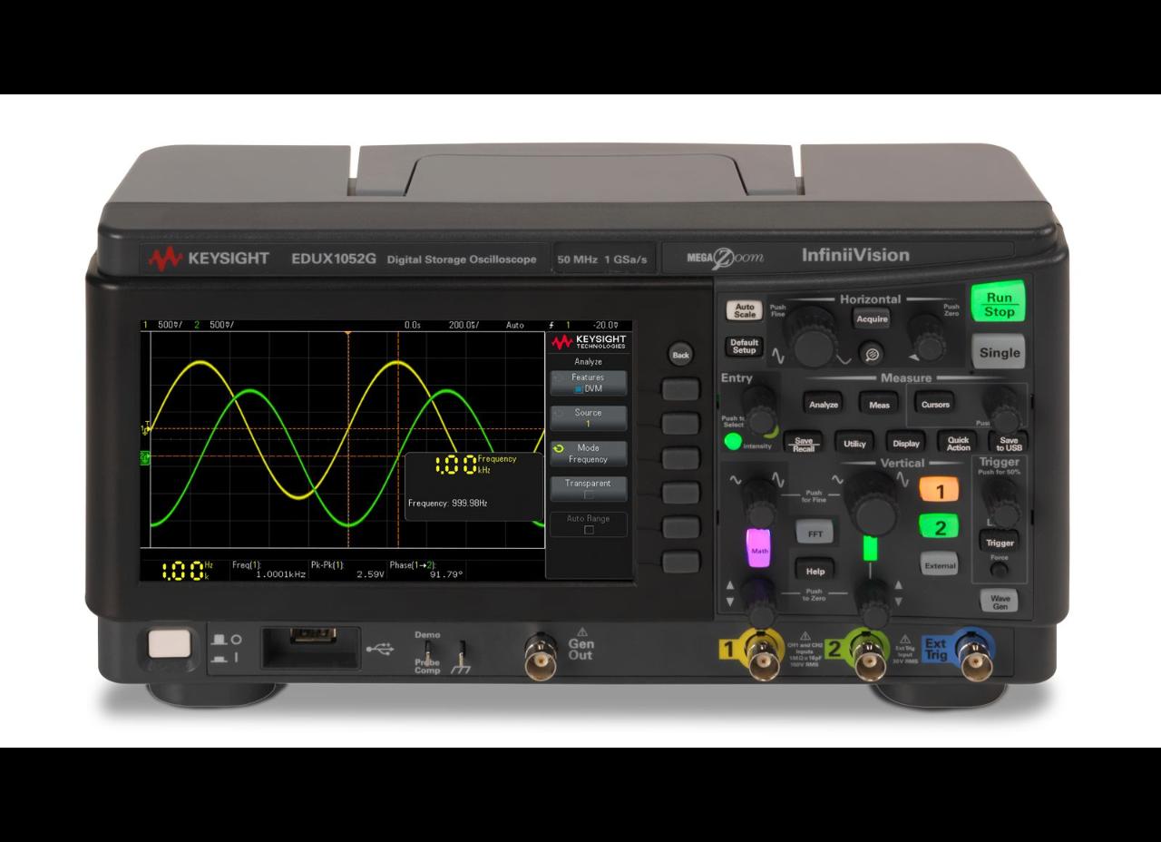 EDUX1052G Osiloskop 50 MHz, 2 Analog Kanal, Dahili Sinyal Üreteçli