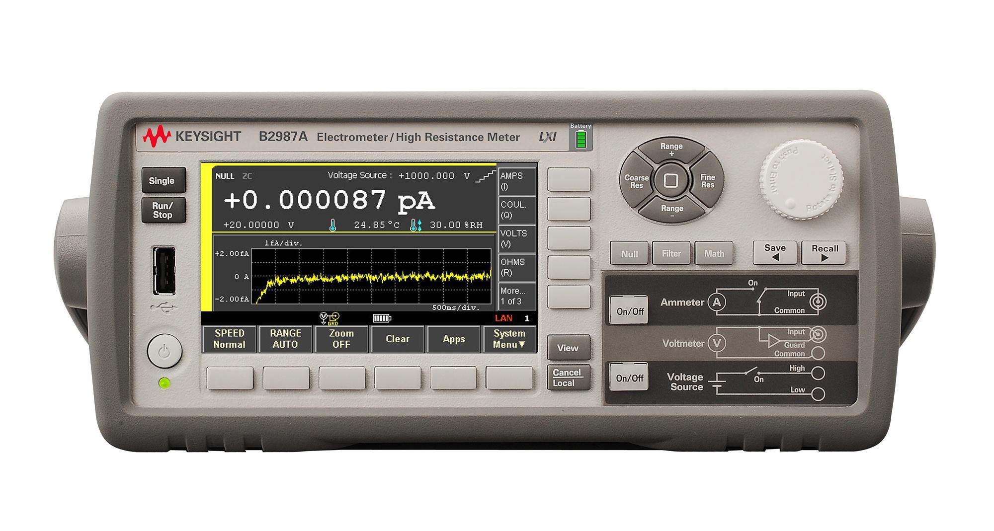 B2987A Elektrometre/Yüksek Direnç Metre, 0.01fA, Bataryalı